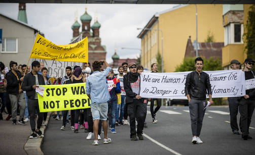 A protest against the rebels was held in Tampere last year.